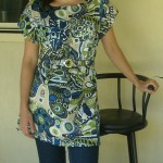 Blue and Lime satin blouse with belt