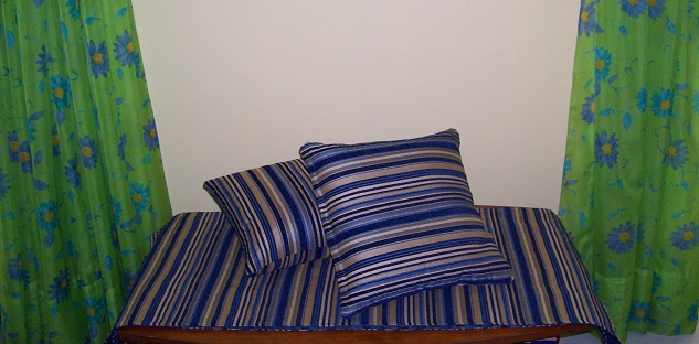 Blue cushions and runner set