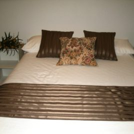 Chocolate self stripe runner and cushion set