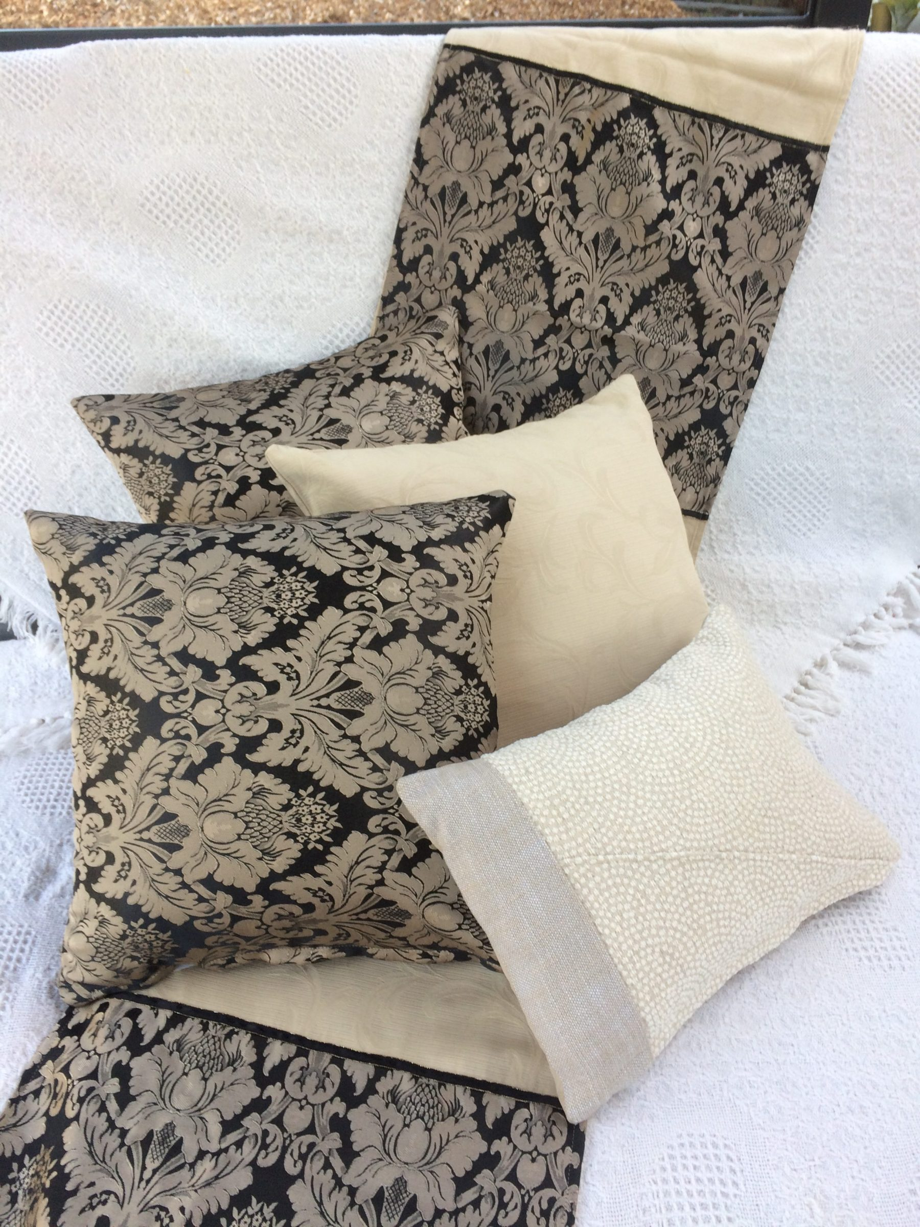 Bed Runners Luxury Black And Beige Runner And Cushions Set Sonya Marie For All Your Sewing Needs