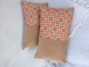 Orange/Beige Geometrical Cushion