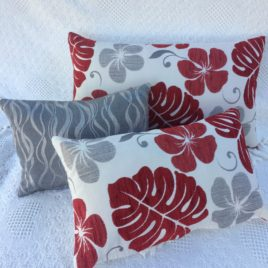 Red and White Floral Cushion Cover