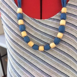 Denim and Cream necklace